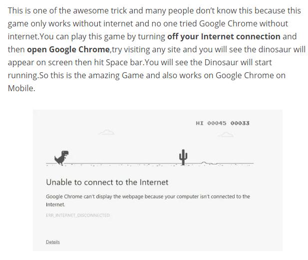 Google Offline Dinosaur Game