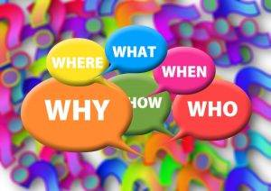 Speech bubbles containing the words: where, what, when, why, how and who